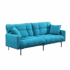Casual 3 Seat Sofa Modern Plush Tufted Linen Fabric Splitback Futon Sleeper Blue