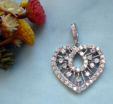 ♥ Ciondolo cuore argento 925 ♥ con Zirconi taglio Brillante ♥