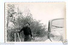 Portrait famille & voiture ancienne Simca 5 - photo ancienne an. 1960
