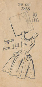 1940s Vintage Sewing Pattern APRON ONE SIZE (R199)