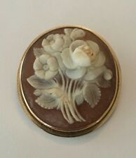 Antique Victorian 14K Solid Gold Carved Shell Floral Cameo Pin Pendant