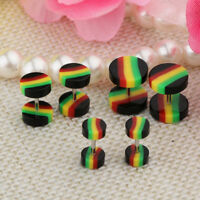 6Pcs Screw Stud Earrings Cheater Fake Ear Plugs Gauges Illusion Tunnel 18G