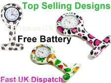 Nurse Watch Patterned Silicone Brooch Tunic Fob Quartz Watch With FREE BATTERY
