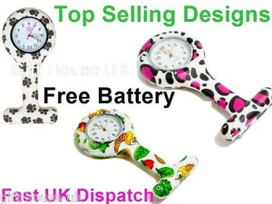 Nurse Watch Patterned Silicone Brooch Tunic Fob Quartz Watch + 2 FREE BATTERIES