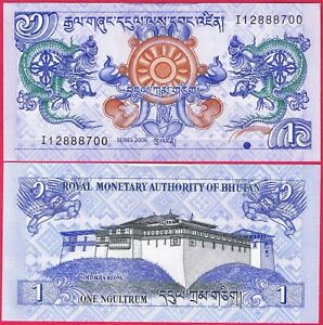 BHUTAN 1 NGULTRUM 2006 P27 BANKNOTE UNC