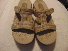 Women's Skechers Beige Fabric Slide Sandals-9
