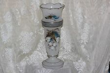 """Antique Tall Bristol Glass Hand Painted Large Vase White & Blue Flowers 12.5 in"""""""