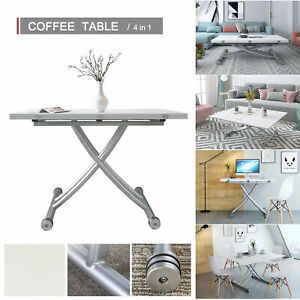 4 in 1 Adjustable Dining Table Desktop Rectangle Desk Coffee Table White