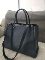 FENDI Navy Blue Vitello Leather Medium 2Jours Elite Tote Bag Shoulder 8BH250