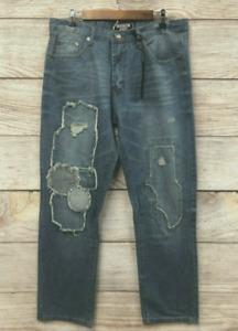 Brooklyn Xpress Jeans Mens 36X32 Rip Repaired Stitched Slim Straight Fit New