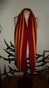 Ede and Ravenscroft Pure New Wool Striped Preppy Long Scarf - Burgandy & Orange