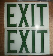 VINTAGE PERFECLITE CLASSIC THEATER STYLE EXIT SIGN 2 SIDE TRIANGLE GREEN WHITE