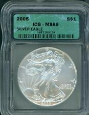 2005 American Silver Eagle ASE S$1 ICG MS69 MS-69 BEAUTIFUL Premium Quality PQ++