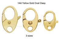 14K Yellow Gold Fancy Nautical Oval Lobster Jaw Claw Trigger Clasp Hook w/Ring
