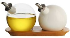 Typhoon Seasonings Set of 2 Orb Oil & Vinegar Drizzlers with Bamboo Tray