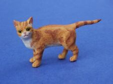 Miniature Dollhouse Orange Cat With Pointed Tail 1:12 Scale New
