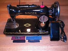 Restored 1933 Singer 15-88 Sewing Machine New 1.5 Amp Motor Added Sews Very Well