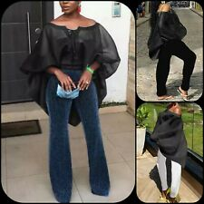 Women's Black Off Shoulder Lace-Up Organza Puff Batwing Sleeve Blouse L