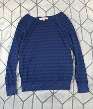 Ann Taylor LOFT Women's XS Blue Striped Semi Sheer Long Sleeve Shirt Wool Blend
