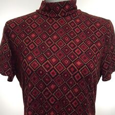 Yves St Clair Women's Top Blouse Size Large Metallic Red Short Sleeve