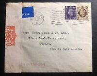 1940 Bolton England Censored Airmail Cover To Penang Strait Settlements Malaya
