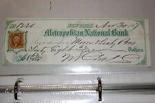 #A132,Vintage Check-Metropolitan National Bank New York