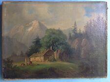 Ölgemälde Alm Hütte Sennerin Brunnen Wasserfall Wilhelm Scheuchzer Schweiz ~1840