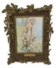 Antique Abel Le Lis Art Nouveau Hand Painting Bronze Frame After Alphonse Mucha