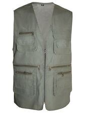 Mens Multipockets Lightweight Casual Summer Gilet Mesh Waistcoat Fishing Hunting Khaki X-large