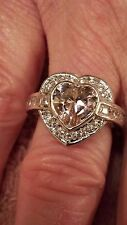 Sterling Silver Plated Pink & White Topaz Gemstone Heart Ring Size 8