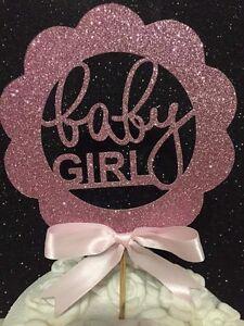 Baby girl cake topper pink birth baby shower girls it's a girl pink glitter