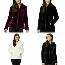 32 Degrees Womens Cozy Hooded Plush Faux Fur Jacket Size, Color VARIETY!!