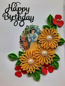 Handmade Birthday Card Quilling Paper Princess Art Greeting Dedicated Girls Gift