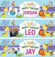 2 Personalised Birthday Banner Photo Children kids Baby Animal Party Decoration