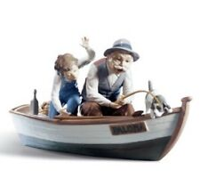 Lladro Figurine #5215 Fishing with Gramps, Mint in Box w/ base
