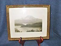 Framed Vintage Mountain Photograph on Silk 1925 Huber Art Co. Cincinnati VGUC