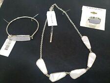 Tahari Silver Tone White Stone irridecent Necklace Bracelet Ring Set New