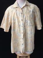 Batik Bay mens Hawaiian shirt size L large cotton short sleeve palm tree tan