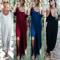Ladies Womens Cold Shoulder Summer Long Maxi Dress Party Beach Casual Dresses
