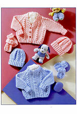 Knitting Pattern- Baby Cable cardigans-hats- mitts in DK Wool 180