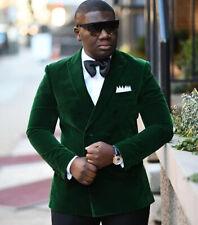 Slim Fit Double Breasted Blazer Green Wedding Groom Tuxedo Mens Velvet Prom Suit