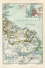 1897 GUYANA GEORGETOWN CITY FRENCH BRITISH DUTCH GUIANA Antique Map