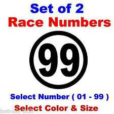Racing Numbers Round - Car, Motorcycle, Truck Midget Dirt - Select Color & Size