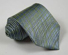TED BAKER Aqua w Lime & Blue Organic Stripes Thick Pattern Woven Silk Neck Tie