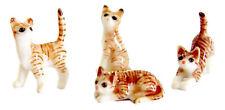 Miniature Porcelain Cat Figurine Hand Paint Set/4 TINY Ginger Tabby Cat Kittens