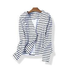 Zara Basic Fashion Style Chic Black & White Striped Jacket Outwear Size L Ladies