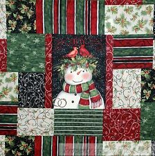 BonEful Fabric FQ Cotton Quilt Black Red White US Snowman Country Xmas Patchwork