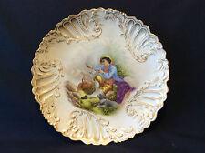 Assiette porcelaine de Paris style rococo Louis XV rocaille cornemuse Pelleger