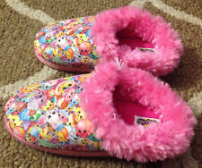 Shopkins Girls Fuzzy Pink Sparkle Character Slippers House Shoes~Sz Small 11/12