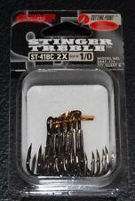 OWNER BLACK CHROME STINGER 2X Treble Hooks 5641-111 Size 1/0 Pack of 6